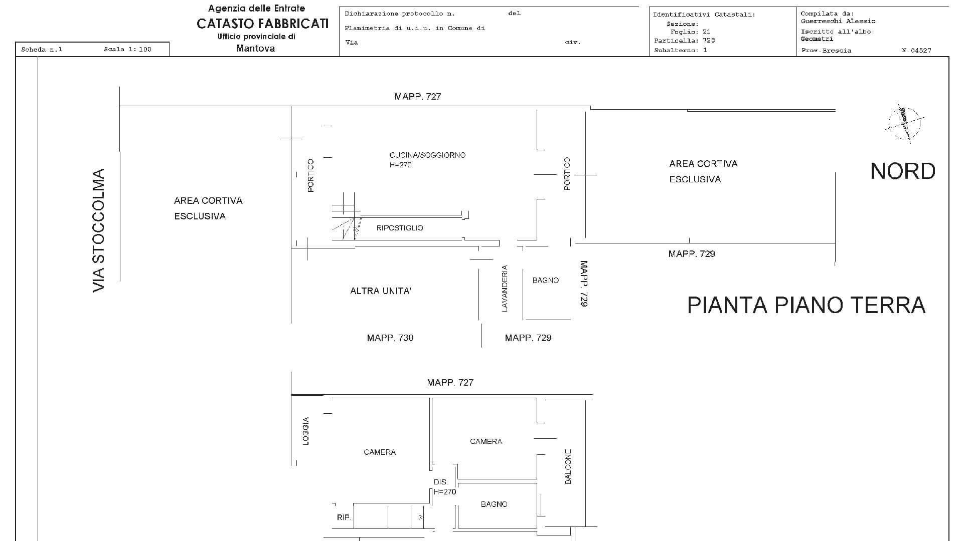 Planimetria catastale visura catastale ph09 for Due box auto con costo dell appartamento